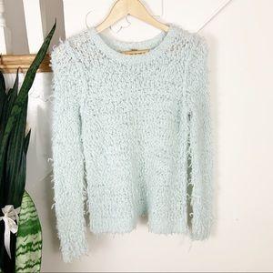 Free People light blue/aqua fuzzy sweater sz S